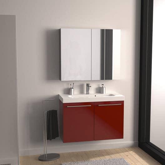 Meuble de salle de bains de 80 99 rouge remix leroy for Meuble salle de bain 80