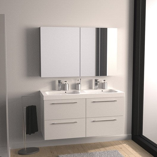 Meuble de salle de bains plus de 120 blanc beige for Meuble salle de bain remix leroy merlin