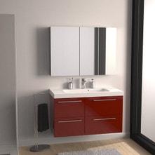 Meuble de salle de bains de 100 à 119, rouge, Remix