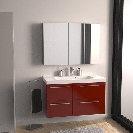 Meuble de salle de bains de 100 119 rouge remix leroy merlin - Meuble toilette leroy merlin ...