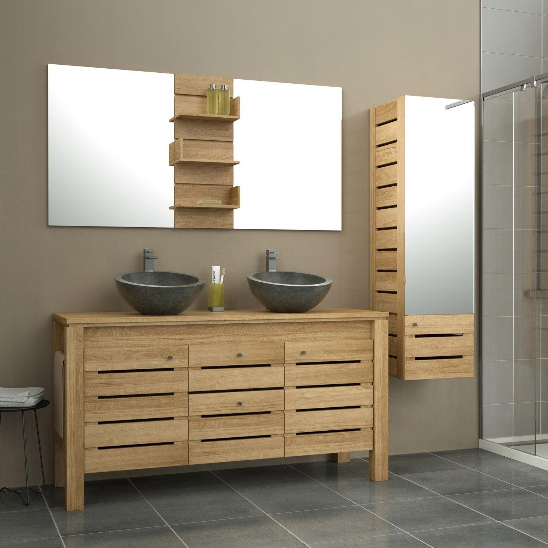 meuble salle de bain bois marron