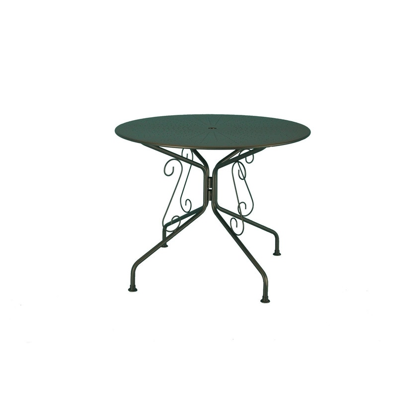 Table de jardin Romantique ronde gris graphithe 4 personnes
