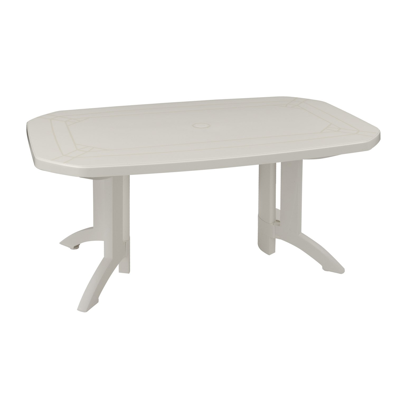 table de jardin grosfillex v ga rectangulaire blanc 6 personnes leroy merlin. Black Bedroom Furniture Sets. Home Design Ideas