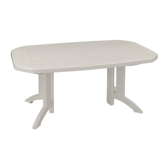Table de jardin grosfillex v ga rectangulaire blanc 6 personnes leroy merlin - Salon de jardin grosfillex vega blanc ...