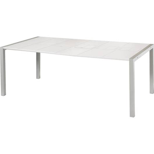 table de jardin grosfillex sunday rectangulaire blanc glacier 8 personnes leroy merlin. Black Bedroom Furniture Sets. Home Design Ideas