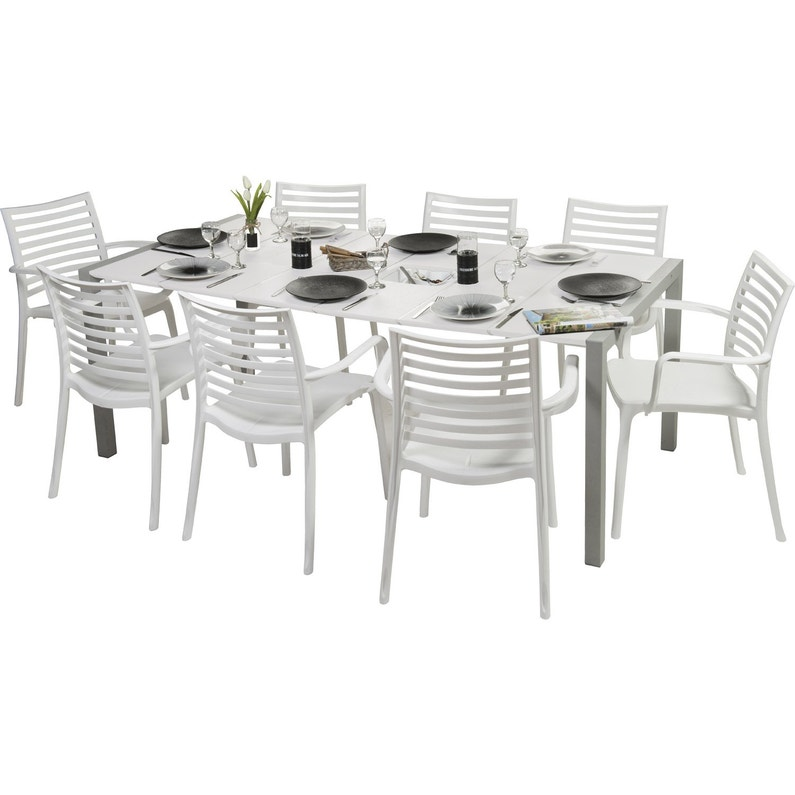 Table de jardin GROSFILLEX Sunday rectangulaire blanc glacier 8 personnes