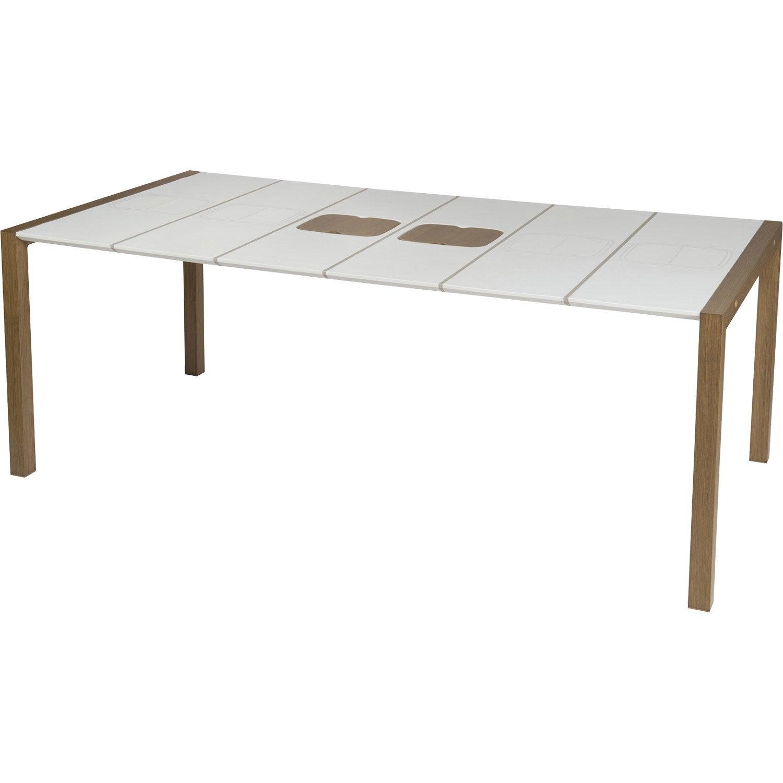 table de jardin grosfillex sunday rectangulaire blanc glacier 8 personnes leroy merlin. Black Bedroom Furniture Sets. Home Design Ideas