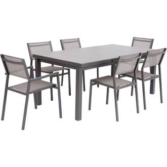 Table de jardin de repas NATERIAL Antibes rectangulaire gris 6/8 ...