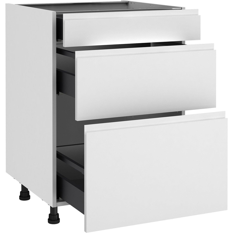 Meuble bas de cuisine Tokyo blanc, 14 tiroirs H.14 l.14 cm x p.14 cm