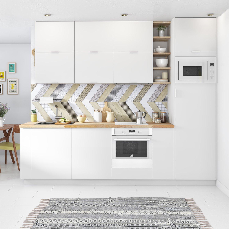 Une cuisine blanche lumineuse leroy merlin - Petite cuisine blanche ...