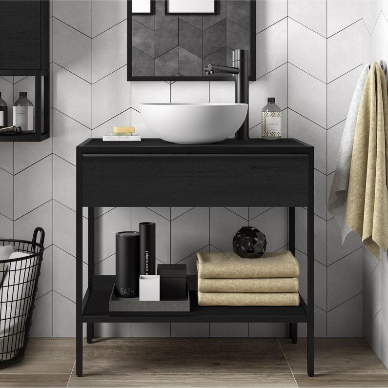 Meuble de salle de bains l.80 x H.77.2 x P.45 cm, effet chêne noir, Studio