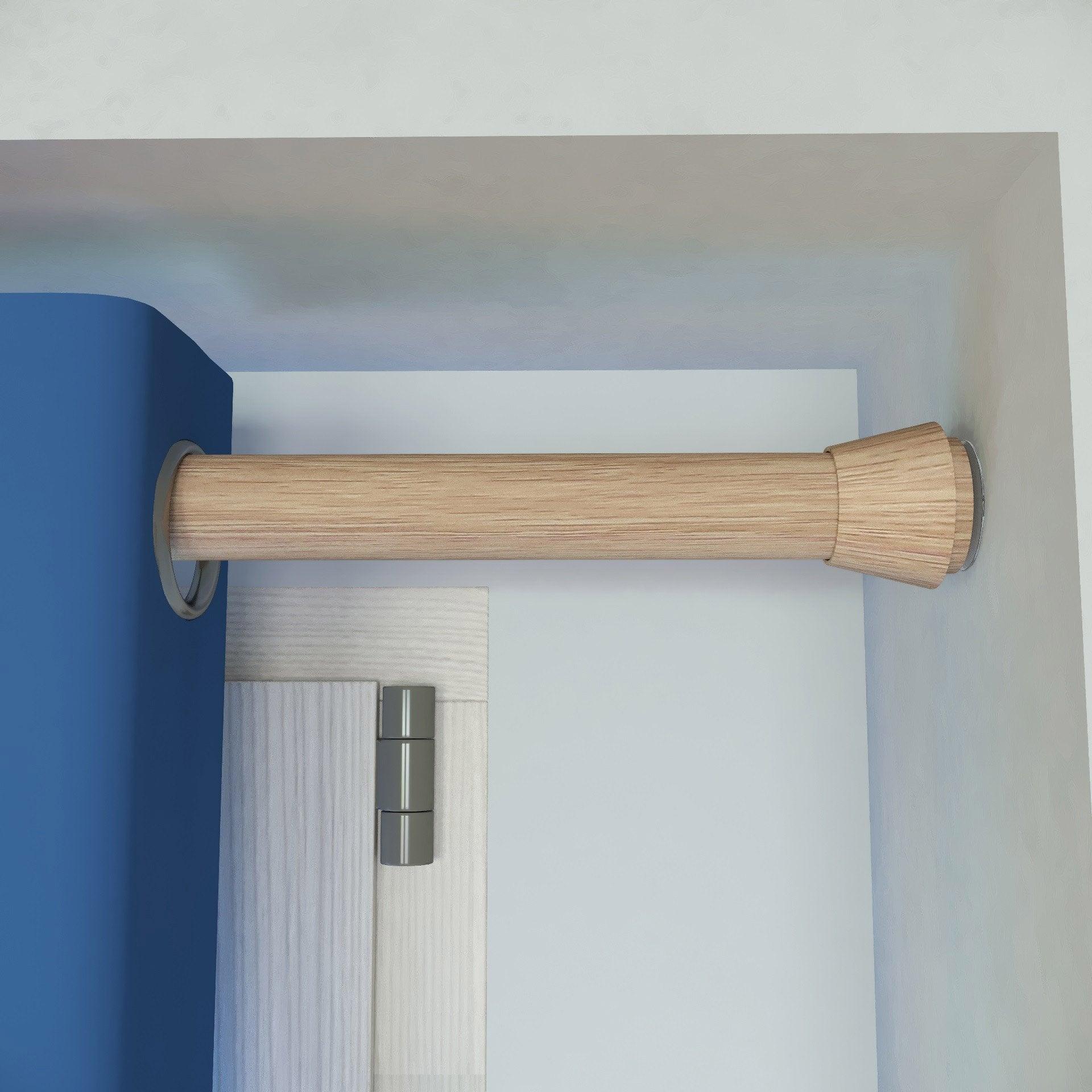 Kit de tringle à rideau Yuko Diam. 28 mm Chêne clair naturel 140X240 cm