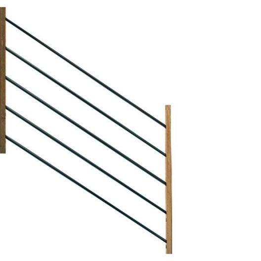 Garde Corp Bois Leroy Merlin : tubes et demi-poteaux pour garde-corps MOKA bois brut H.96 x l.15 cm