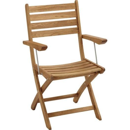 Lot de 2 fauteuils de jardin en bois robin naturel leroy merlin for Fauteuil de jardin en bois