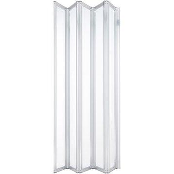 Pare-baignoire 5 volets pivotant pliant 140x112 cm verre sécu transparent Laguna