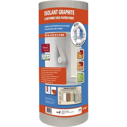 Rouleau isolant mural graphite cartonn sad - Isolant thermique mural ...