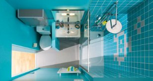 Du grand confort dans une petite salle de bains leroy merlin for Salle de bain dans 3m2