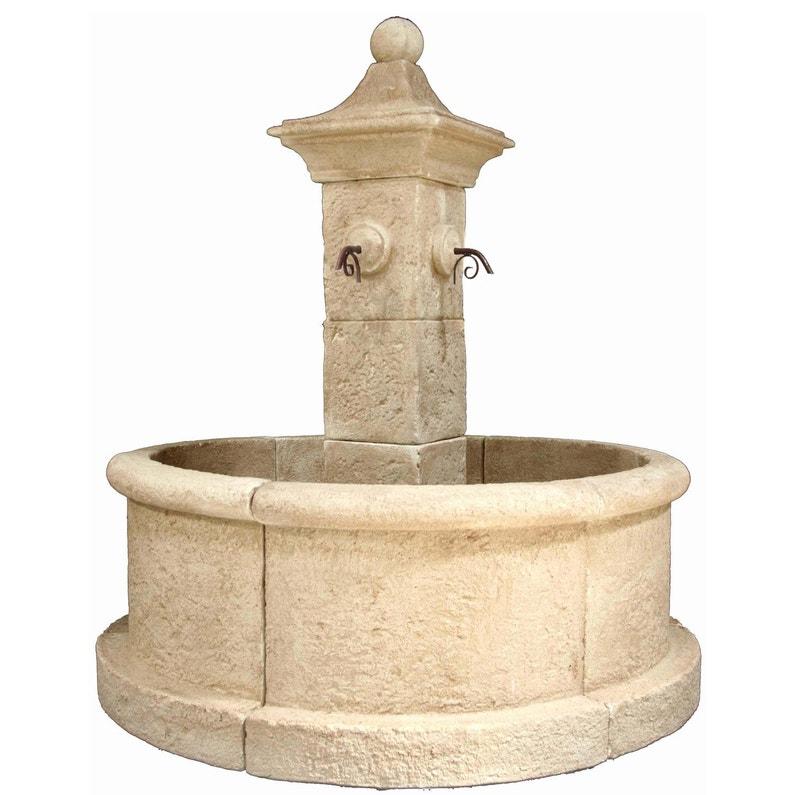 Fontaine de jardin en pierre reconstituée pierre vieillie Elios