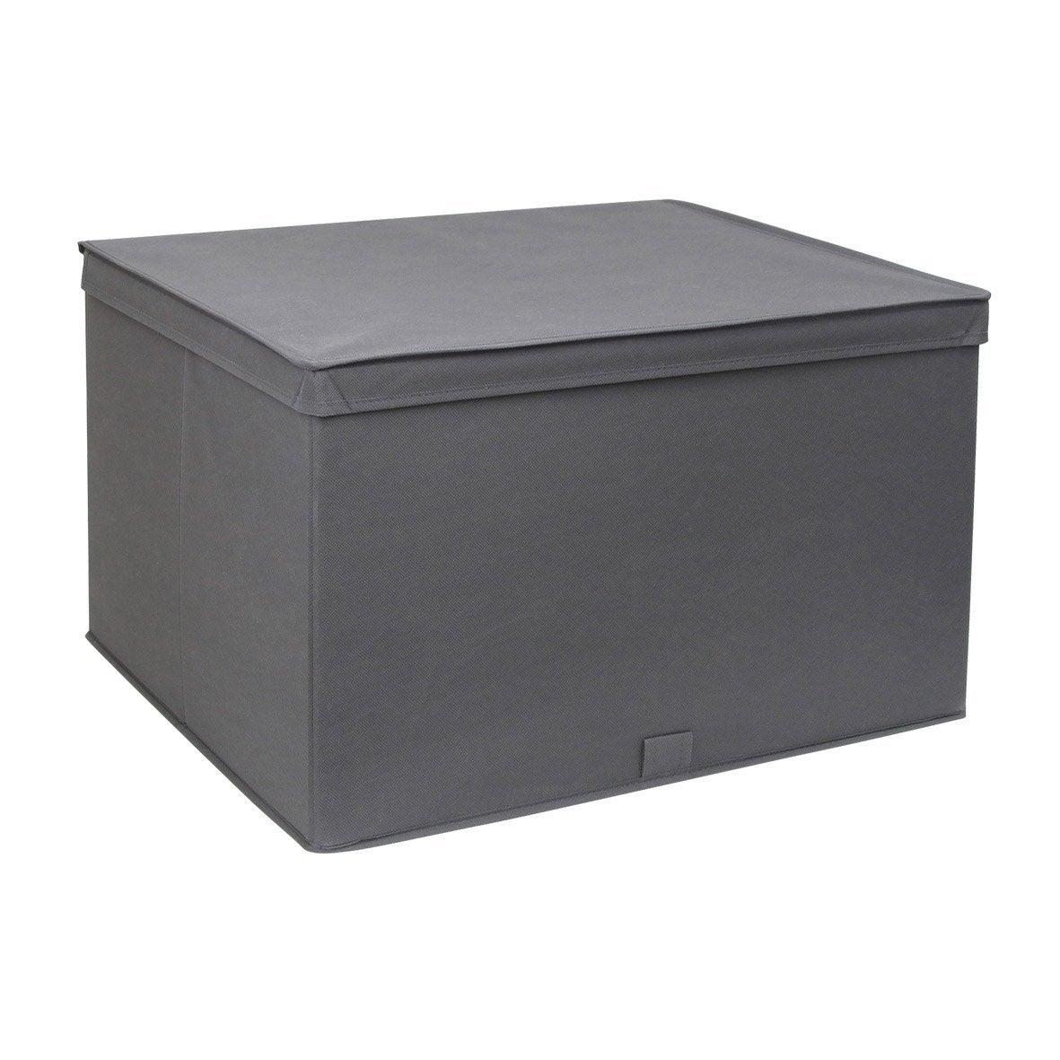design de qualité c6140 9559b Boîte de rangement avec couvercle tissu SPACEO gris H.32.5 x l.54.5 x  P.43.5 cm