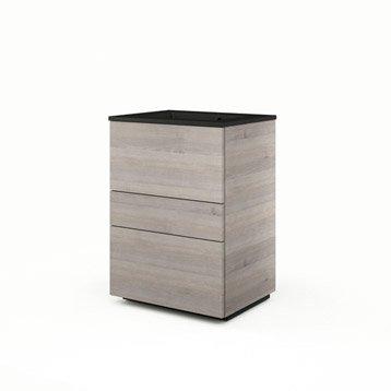 Meuble vasque l.60 x H.84 x P.48 cm, imitation chêne grisé Neo line