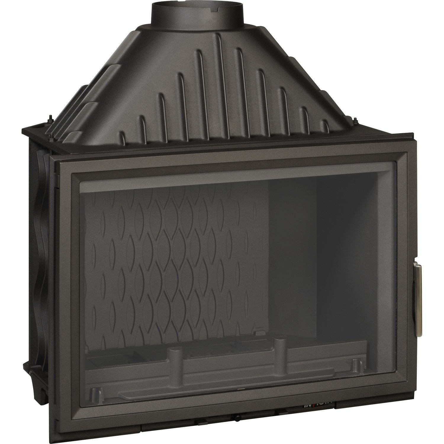 Foyer bois fa ade droite invicta 6280 44 14 kw leroy for Foyer exterieur a donner