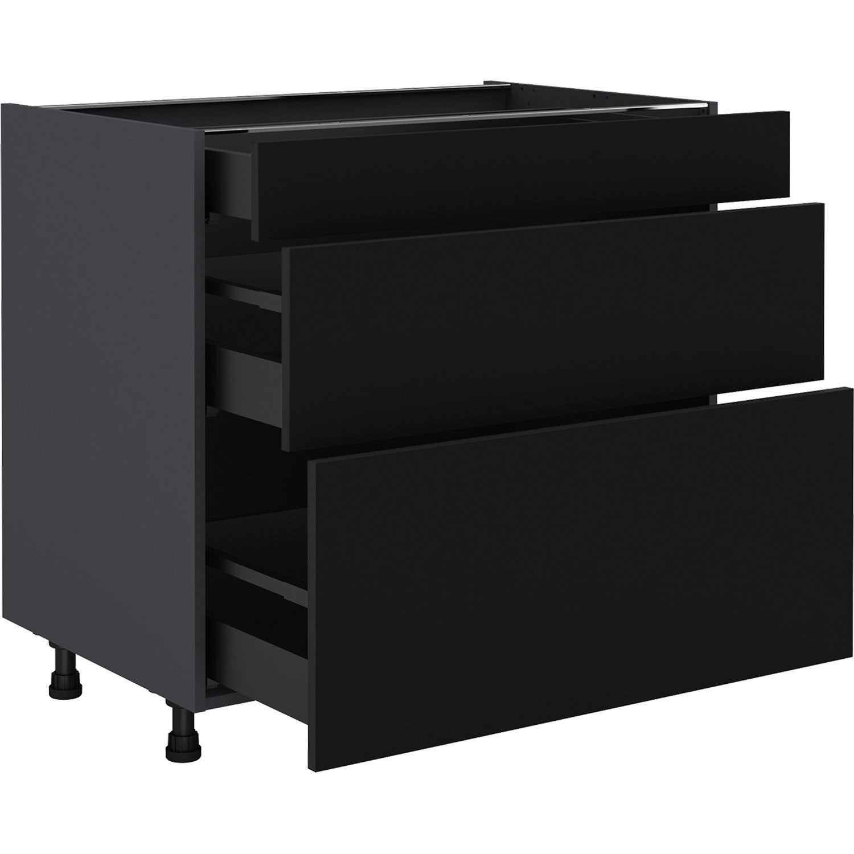Meuble bas de cuisine Sofia noir, 12 tiroirs H.12 l.12 cm x p.12 cm