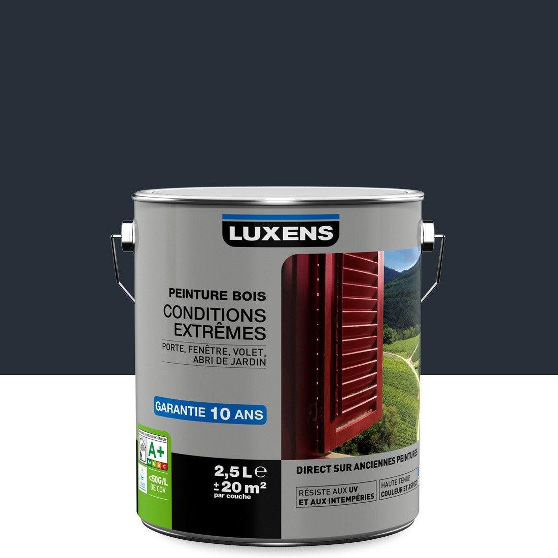 Peinture Bois Extérieur Conditions Extrêmes LUXENS, Gris Anthracite, 2.5 L