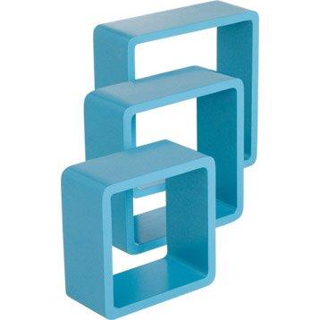 Etagère 3 cubes bleu atoll n°4 SPACEO, L.28 x P.28 cm Ep.15 mm