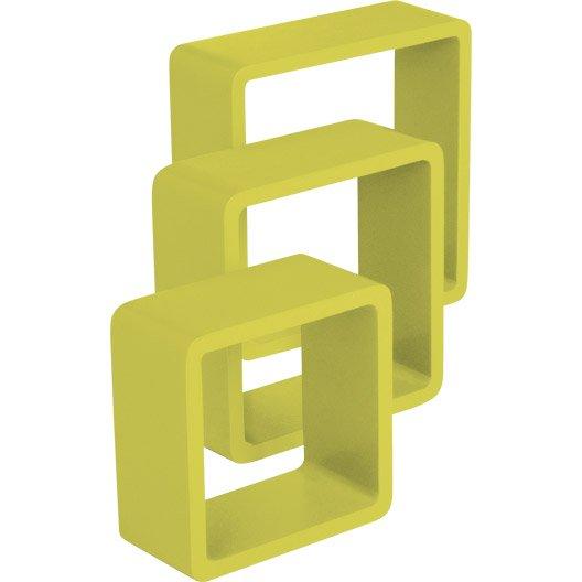 etag re 3 cubes jaune anis n 3 spaceo x cm mm leroy merlin. Black Bedroom Furniture Sets. Home Design Ideas