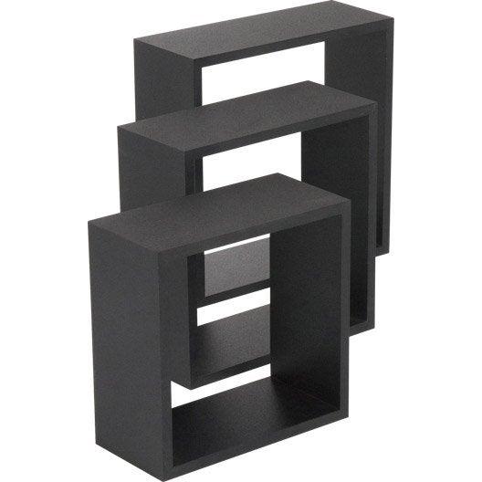 Etagère 3 cubes noir, L.30 x P.30 cm Ep.12 mm