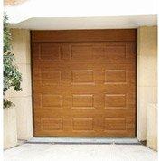 Porte de garage sectionnelle motorisée ARTENS, à cassette aspect veiné,200x240cm