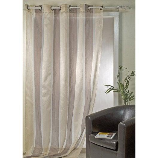 voilage tamisant grande largeur bari chocolat vanille l. Black Bedroom Furniture Sets. Home Design Ideas