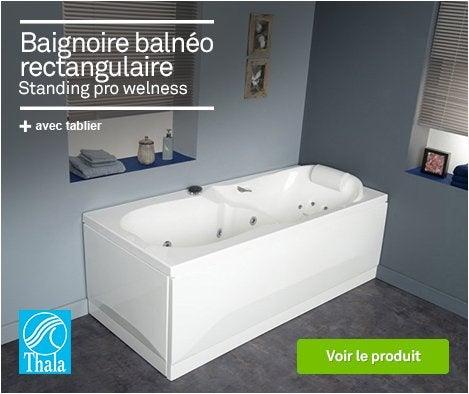 HOP - 69038571 - Baignoire balnéo rectangulaire tablier L.180x l.80cm, THALA Standing pro welness