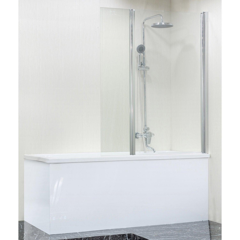 Pare-baignoire pivotant pliant, H.140 x l.111.5 cm