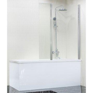 Pare-baignoire 2 volets pivotant pliant verre de sécurité transparent Ep. SENSEA