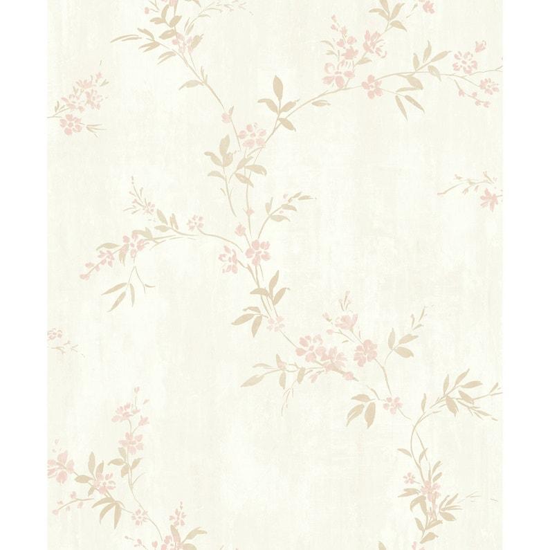 Papier Peint Flora Beige Marron Rose Intisse Legend Leroy Merlin