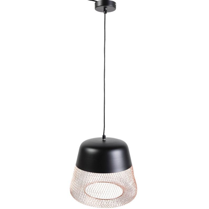 suspension e27 design tofua m tal noir et cuivre 1 x 60 w. Black Bedroom Furniture Sets. Home Design Ideas