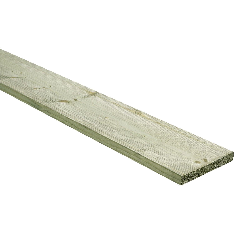 Planche sapin (épicéa) traité, raboté, 25x197 mm, long 4 m, choix 2, classe 3