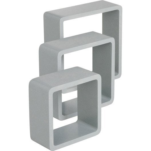 Applique Bois Leroy Merlin : Etag?re 3 cubes gris galet : L 28 x P 28, L 24 x P 24, L 21 x P 21 cm