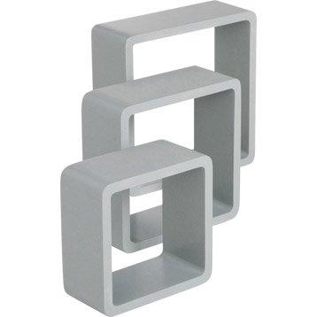 Etagère 3 cubes gris galet : L 28 x P 28, L 24 x P 24, L 21 x P 21 cm Ep.15 mm