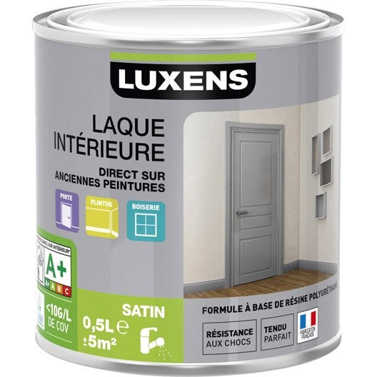 peinture blanc calcaire 3 luxens laque satin 0 5 l leroy merlin. Black Bedroom Furniture Sets. Home Design Ideas