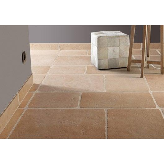 Carrelage sol et mur abricot effet pierre toscane x l for Carrelage sol mur