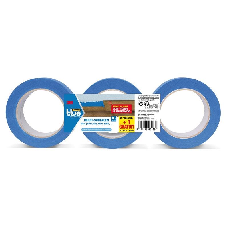 Adhésif Scotch Blue Masquage Toile Multiusage L40 M X L48 Mm Bleu