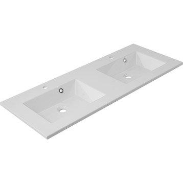 Plan vasque double Modern Marbre de synthèse 121.0 cm