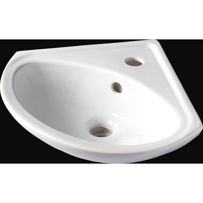 lave mains cramique angle blanc l35 x p35 cm sigma - Meuble Sous Vasque Angle