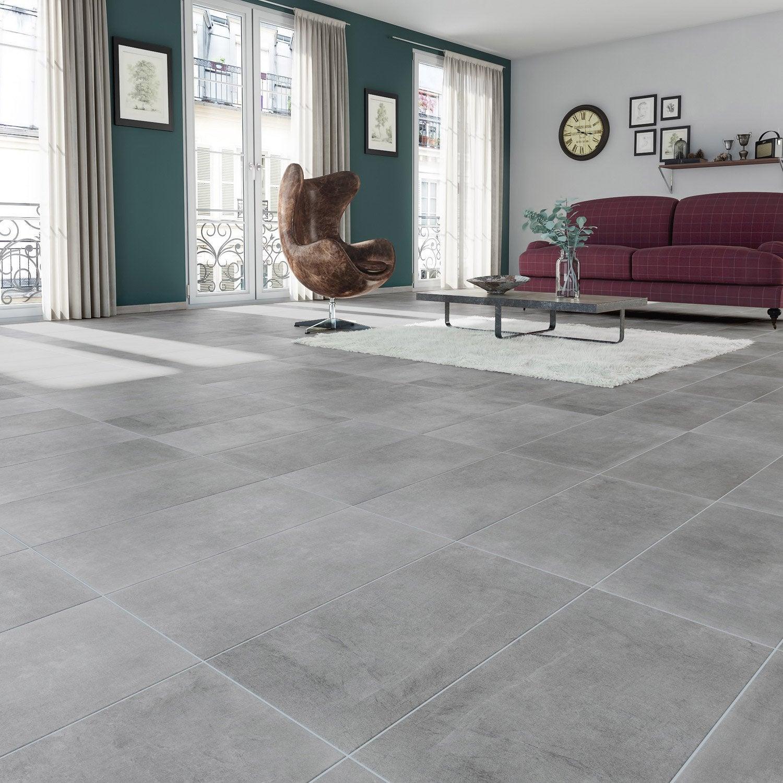 Carrelage sol et mur gris effet béton New cottage l.30 x L.60.4 cm ...