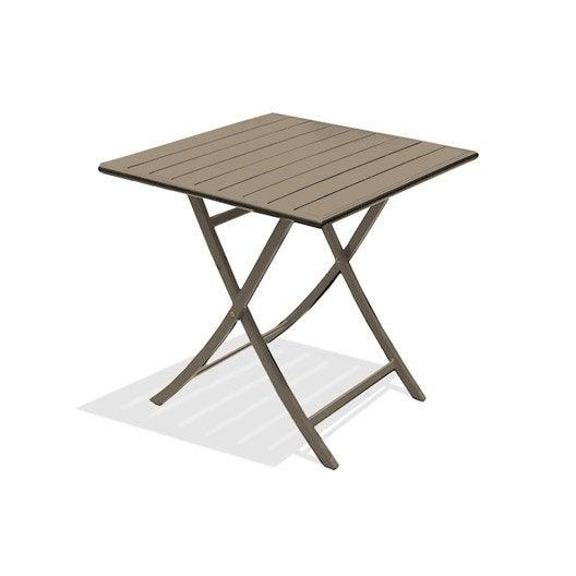Table de jardin marius carr e beige 2 personnes leroy merlin - Table de jardin 2 personnes ...