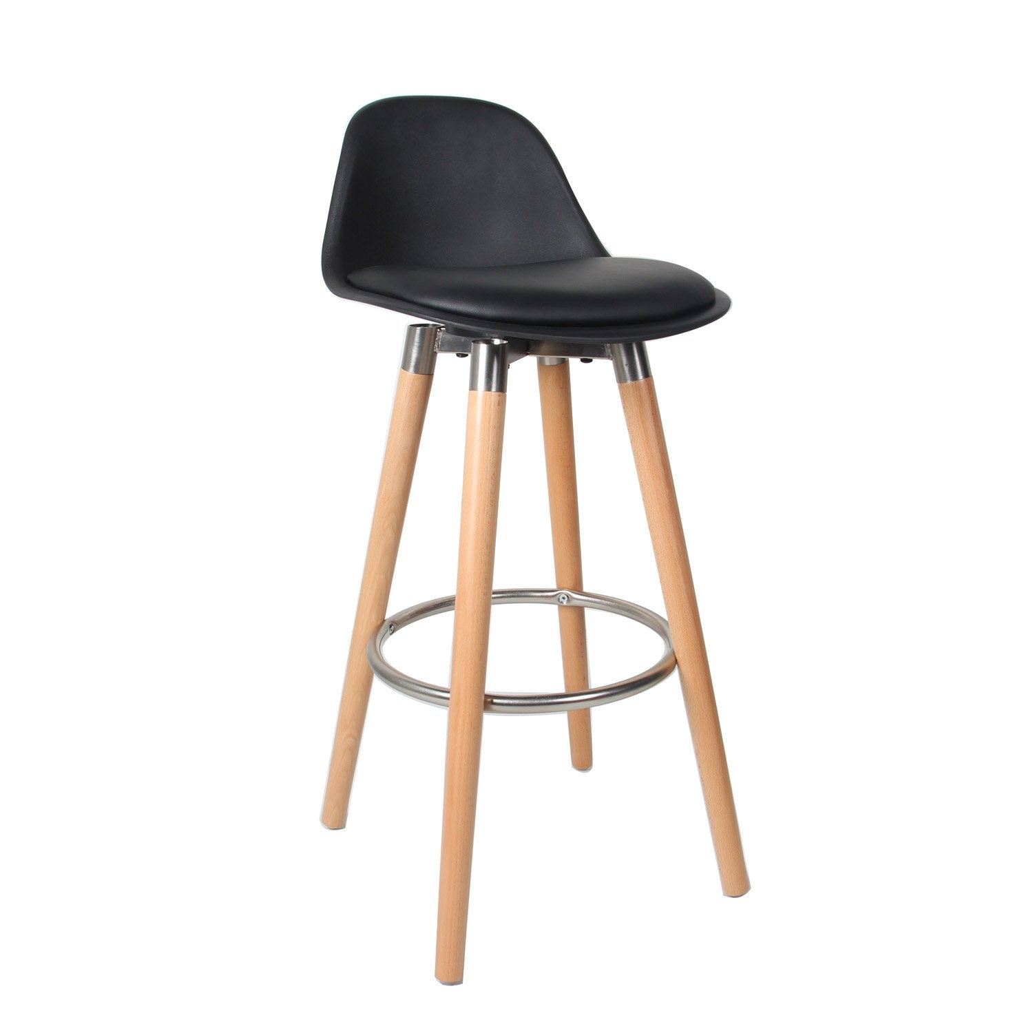 lot de 2 tabourets lam noir - Lot De 2 Tabouret De Bar