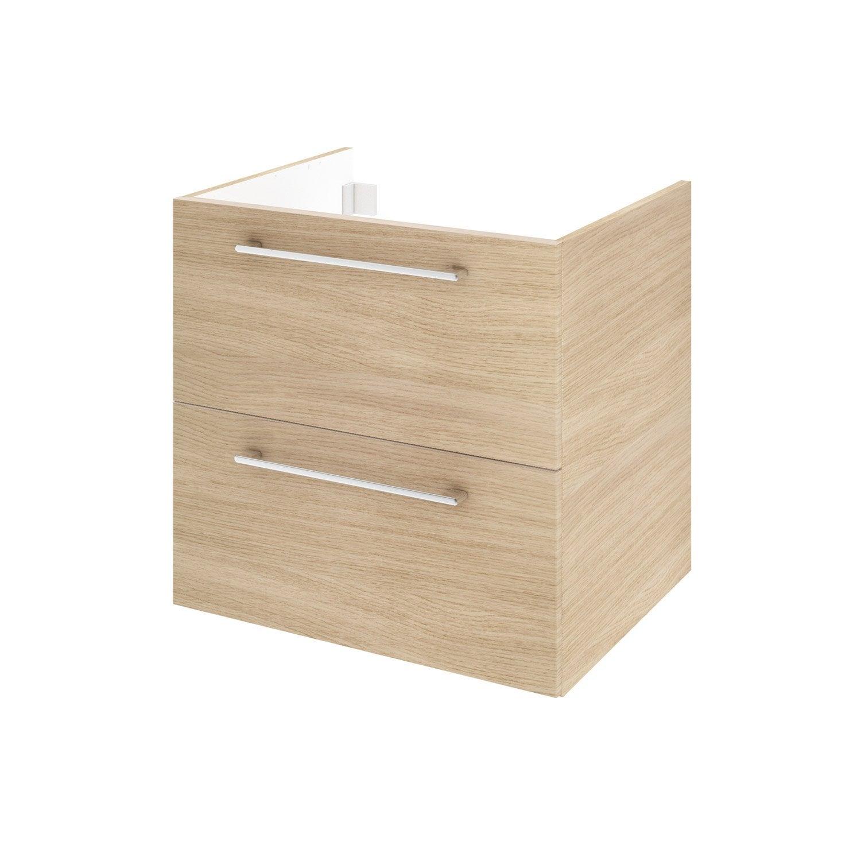 Meuble de salle de bains l.60 x H.58 x P.48 cm, effet chêne naturel, Remix