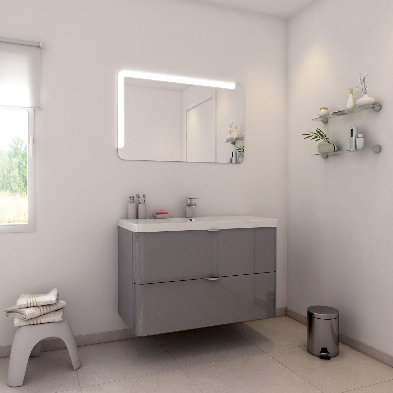 Meuble de salle de bains gris et contemporain leroy merlin - Meuble de salle de bain contemporain ...